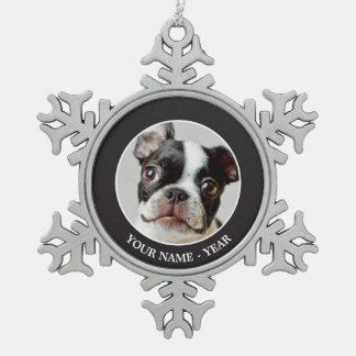 Ornement Flocon De Neige Boston Terrier