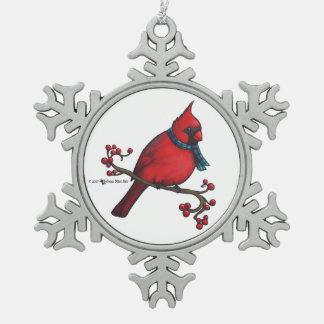 Ornement Flocon De Neige Cardinal de Noël