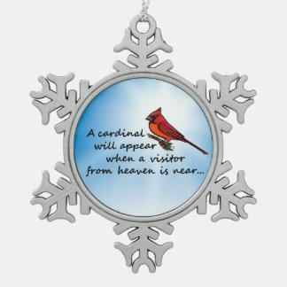 Ornement Flocon De Neige Cardinal, visiteur de ciel