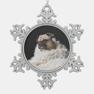 Ornement Flocon De Neige Carlin fait sur commande de l'animal familier   de