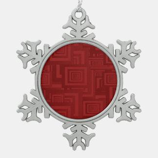 Ornement Flocon De Neige Carrés rouge-foncé