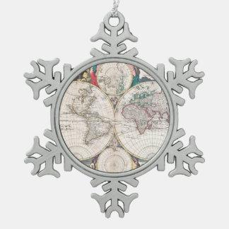 Ornement Flocon De Neige Carte antique du monde de Double-Hémisphère