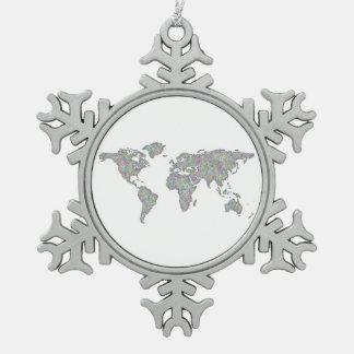 Ornement Flocon De Neige Carte du monde