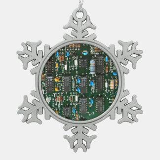 Ornement Flocon De Neige Carte électronique de l'électronique d'ordinateur
