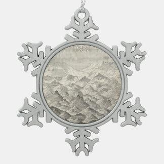Ornement Flocon De Neige Carte vintage des collines et des montagnes au R-U