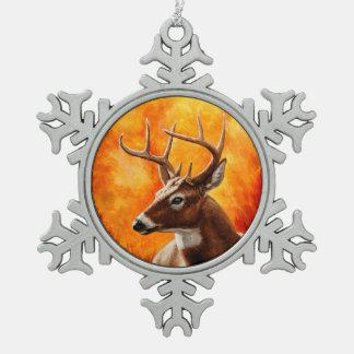 Ornement Flocon De Neige Chasse de mâle de cerf de Virginie