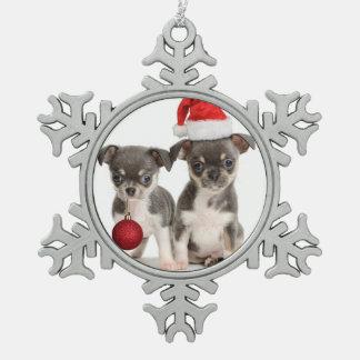 Ornement Flocon De Neige Chiots de Joyeux Noël