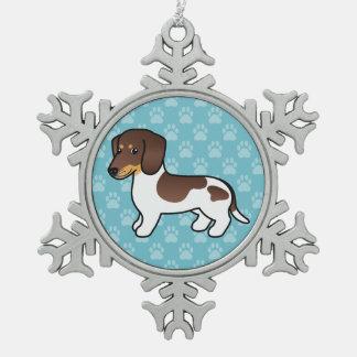 Ornement Flocon De Neige Chocolat et chien lisse bronzage de teckel de