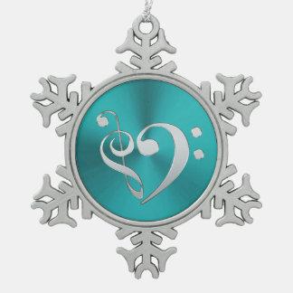 Ornement Flocon De Neige Coeur de clef de musique de turquoise et d'argent