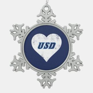 Ornement Flocon De Neige Coeur de cru d'USD