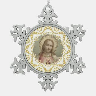 Ornement Flocon De Neige Coeur sacré de frontière d'or de Jésus