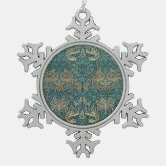 Ornement Flocon De Neige Conception de paon de William Morris et de textile