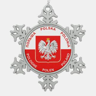 Ornement Flocon De Neige Couleurs polonaises de drapeau avec l'ornement de