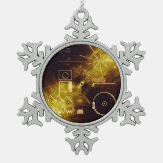 Ornement Flocon De Neige Couverture record d'or de vaisseau spatial de