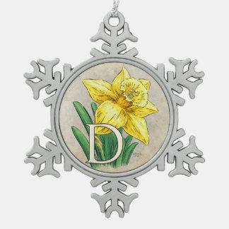 Ornement Flocon De Neige D pour le monogramme floral de jonquille