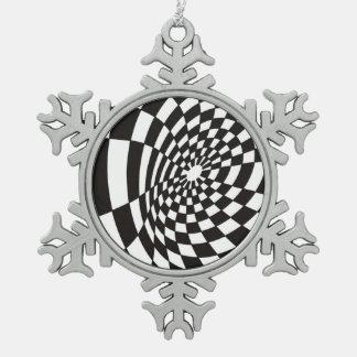 Ornement Flocon De Neige Damier déformé en noir et blanc