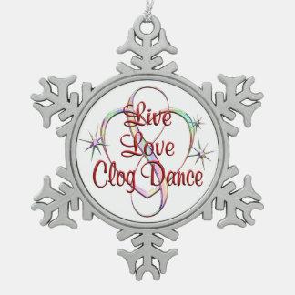 Ornement Flocon De Neige Danse d'entrave vivante d'amour