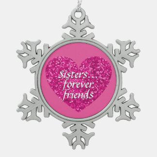 Ornement Flocon De Neige De soeurs coeur de parties scintillantes de rose