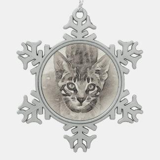 Ornement Flocon De Neige Dessin de chaton du Bengale