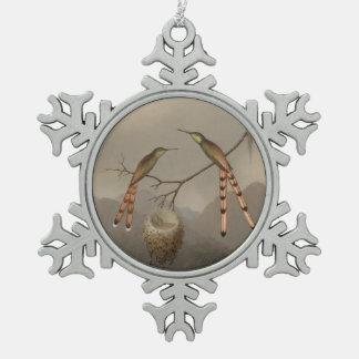 Ornement Flocon De Neige Deux colibris avec leurs jeunes
