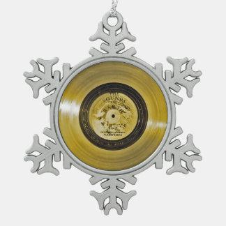 Ornement Flocon De Neige Disque d'or de vaisseau spatial de Voyager