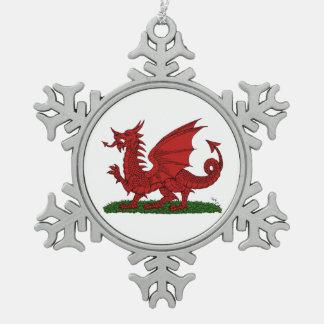 Ornement Flocon De Neige Dragon rouge du Pays de Galles