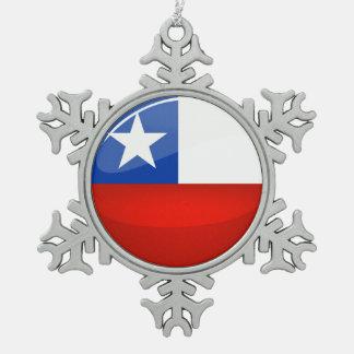 Ornement Flocon De Neige Drapeau chilien rond brillant