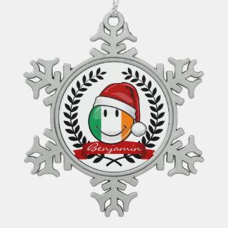 Ornement Flocon De Neige Drapeau irlandais de sourire de style de Noël