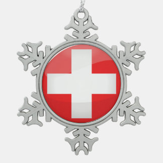 Ornement Flocon De Neige Drapeau suisse rond brillant
