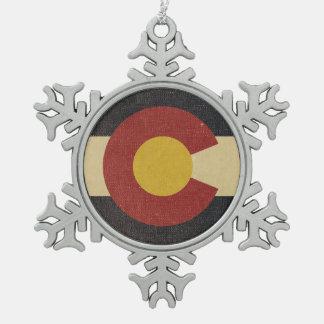 Ornement Flocon De Neige Drapeau vintage d'état du Colorado