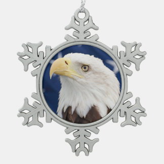 Ornement Flocon De Neige Eagle chauve avec le drapeau américain