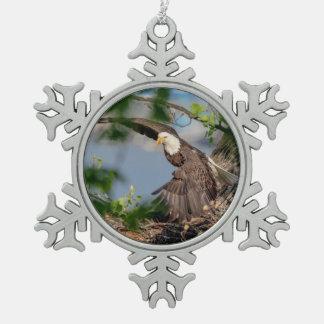 Ornement Flocon De Neige Eagle chauve partant du nid