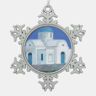 Ornement Flocon De Neige Église chypriote grecque bleue et blanche