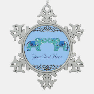 Ornement Flocon De Neige Éléphant de henné (bleu/bleu-clair)