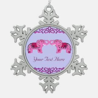 Ornement Flocon De Neige Éléphant de henné (rose/pourpre)