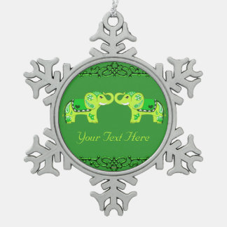Ornement Flocon De Neige Éléphant de henné (vert/vert de chaux)