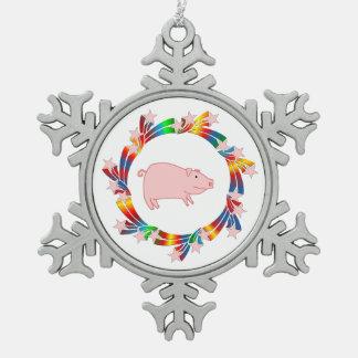 Ornement Flocon De Neige Étoiles de porc