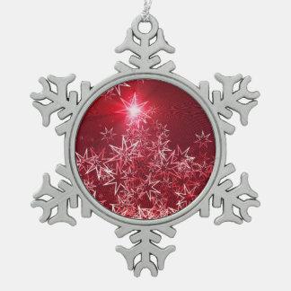 Ornement Flocon De Neige Étoiles sur un arrière - plan rouge