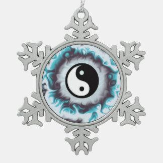 Ornement Flocon De Neige Flamme de Yin Yang Teal
