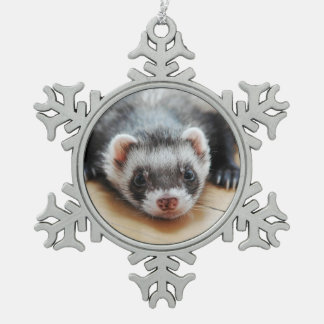 Ornement Flocon De Neige Furet mignon de sable