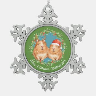 Ornement Flocon De Neige Guirlande de couples de cobaye de Noël