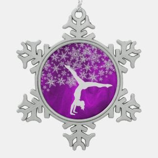 Ornement Flocon De Neige Gymnaste argenté de flocon de neige sur la