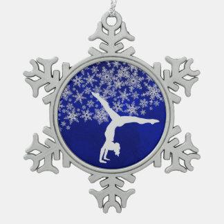 Ornement Flocon De Neige Gymnaste argenté de flocon de neige sur le bleu