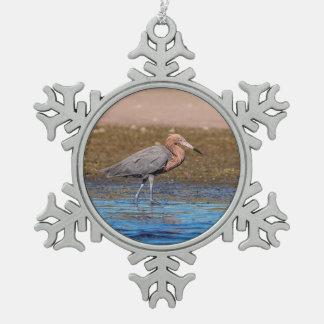 Ornement Flocon De Neige Héron rougeâtre sur la plage du nord