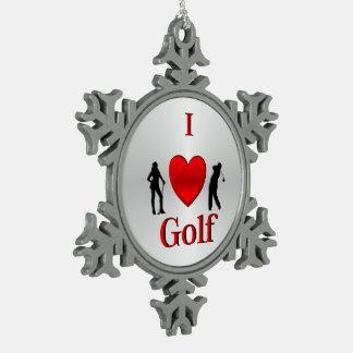 Ornement Flocon De Neige I sport de golf de coeur