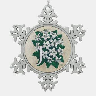 Ornement Flocon De Neige J pour le monogramme de fleur de jasmin