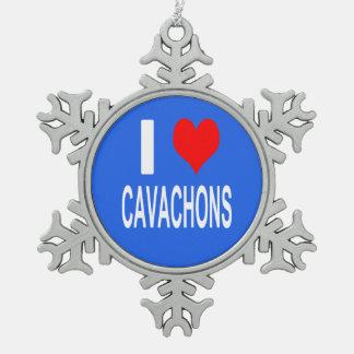 Ornement Flocon De Neige J'aime l'ornement de Cavachons, chien