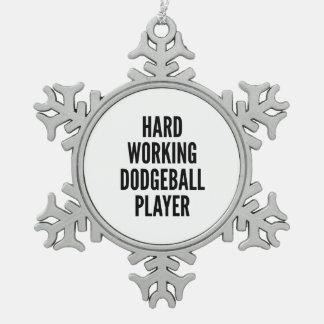 Ornement Flocon De Neige Joueur travaillant dur de Dodgeball