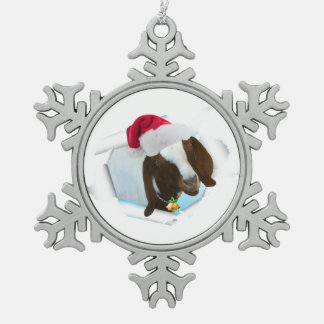 Ornement Flocon De Neige Joyeuse chèvre de Noël de pays avec le casquette