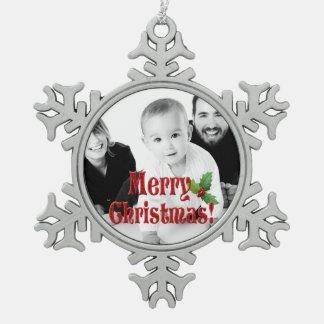 Ornement Flocon De Neige Joyeux photo moderne de coutume de Noël et de houx